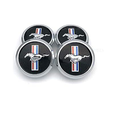 TOMSEN Car Emblem Badge Wheel Hub Caps Centre Cover Black for for 4pcs Mustang Cobra Jet Shelby: Automotive