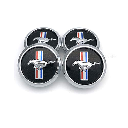TOMSEN Car Emblem Badge Wheel Hub Caps Centre Cover Black for for 4pcs Mustang Cobra Jet Shelby