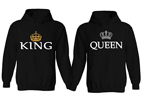 Couple World 231/232 - Hoodie King & Queen Matching Pullover Sweatshirt Black Men M - Women S