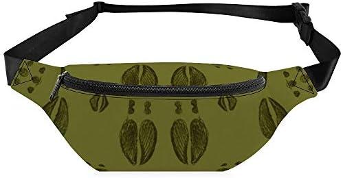 鹿は葉の緑を追跡します ウエストバッグ ショルダーバッグチェストバッグ ヒップバッグ 多機能 防水 軽量 スポーツアウトドアクロスボディバッグユニセックスピクニック小旅行