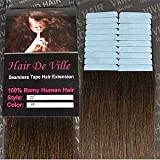 20 Pieces 22″ inches Remy Seamless Tape In Skin weft Human Hair Extensions Color # 4 Medium Brown By Hair De Ville For Sale