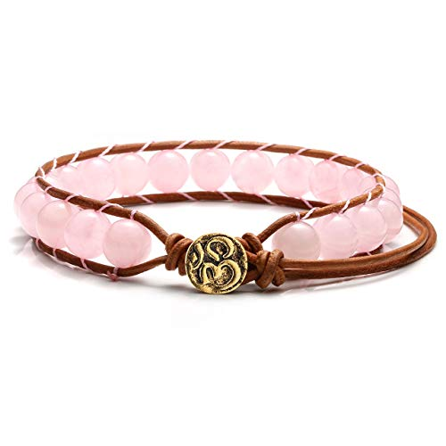 (Jovivi Handmade Bohemian Woven Natural Rose Quartz Stone Yoga Bracelets Leather Chakra Beads Wrap Bracelet OM Button Adjustable)
