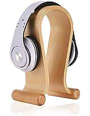 AMAZACER Wooden Headset Holder/Headphone Stand/Omega Universal Wood Headset Hanger for Bose, Beats, Skull Candy, Sony, AKG,Sennheiser (Oak Wood Black) (Color : White Birch)