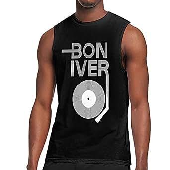 bon iver t shirts men 39 s sleeveless round neck shirt gym workout cotton tank top. Black Bedroom Furniture Sets. Home Design Ideas