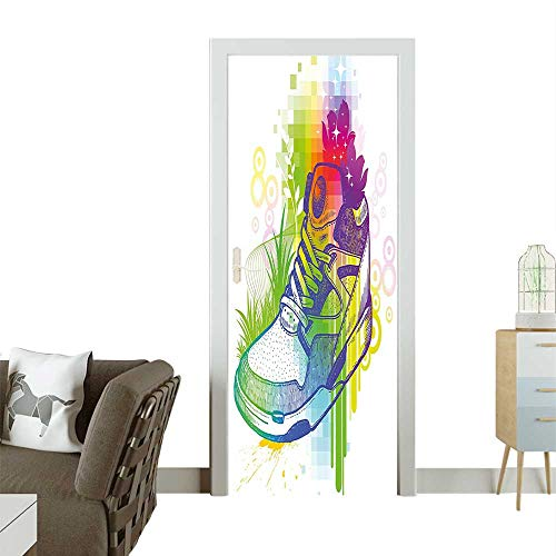 - Door Sticker Wall Decals Magic Boot Flowers Dots Pixels Digital Effect Print Multicolor Easy to Peel and StickW32 x H80 INCH