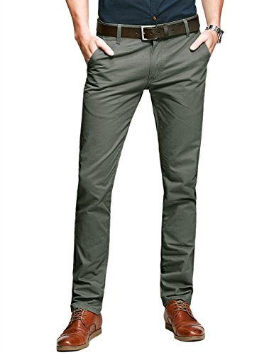 Match Mens Slim-Tapered Flat-Front Casual Pants(Grayish green,29)