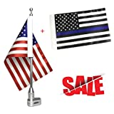 Cheap Free2choose Mount Flag Pole + 6″x9″ USA Flag + 6″x9″ Thin Blue Line USA Flag for Honda Goldwing GL1800 2001-2012