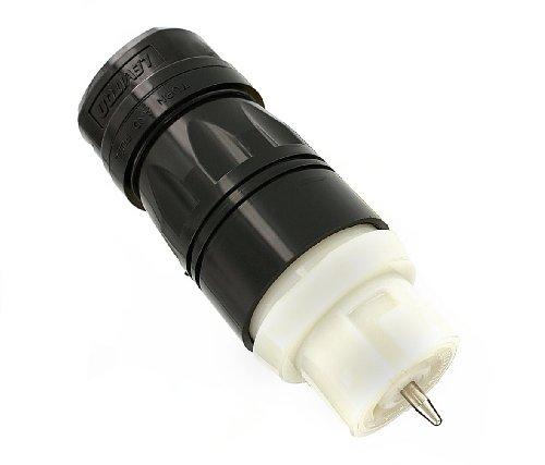 Leviton CS8264C 50 Amp, 250V AC, Industrial Grade, Black and White Locking Connector, Industrial Grade, Grounding, California-Style, Black-White