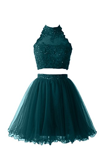 DressyMe Women's Floral Cocktail Dresses 2 Piece Halter Lace Party Gown-17W-Teal