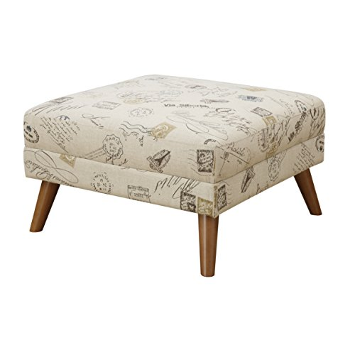 Cheap Emerald Home Remix Vintage Postcard Ottoman with Fixed Cushion And Telescoped Wood Legs