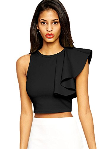 O&W Women's Black Solid One-shoulder Bodycon O Neck Sleeveless Ruffle Crop Top Camisole Bra S