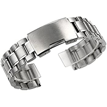 Zeiger 20mm Size Men B005 Replacement Metal Wrist Watch Band (Stainless Steel Silver 20mm)