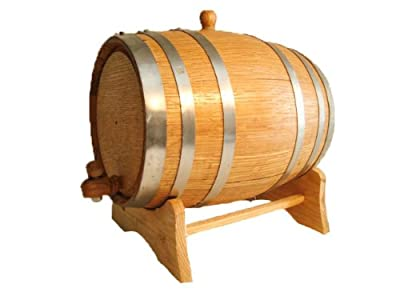 American Oak Barrel with Steel Hoops- 5 Liter or 1.32 Gallons