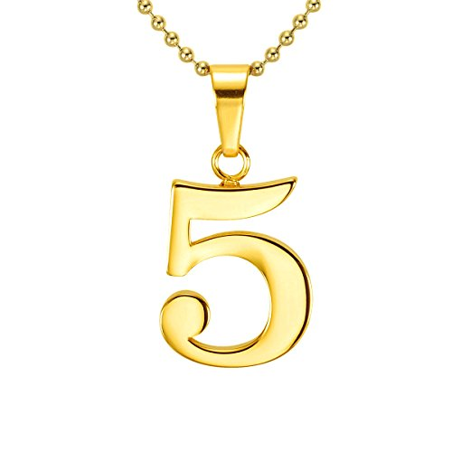 LAOFU Personalized 925 Sterling Silver Combine Number Pendant Necklace Custom Made - Number Five