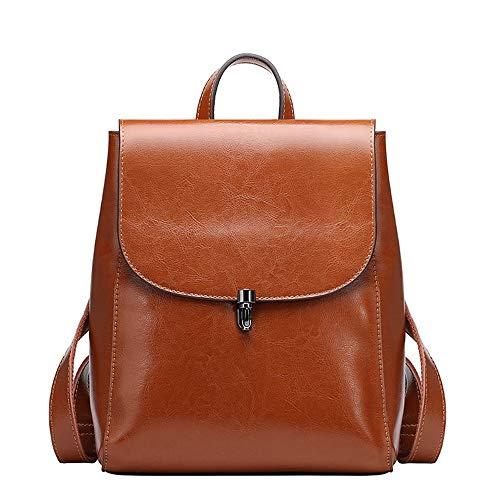 De 1 Vaca Moda brown Qian Viaje Qianqian Bolsa Mochila La Brown Piel Mochila Señora Bolso nXE0Of7