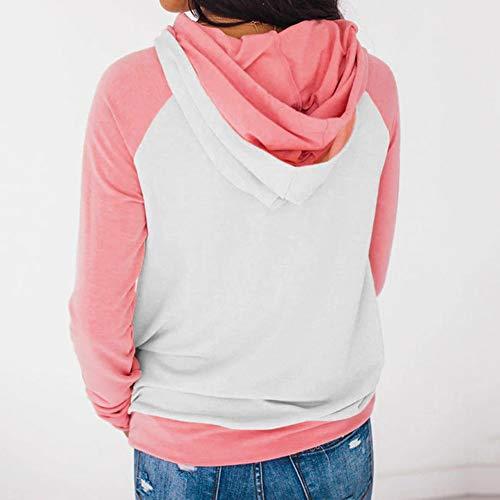 Kemilove Women Autumn Long Sleeve Pocket Patchwork Hooded Sweatshirt Pullover Tops Blouse Casual Hooded Coat Pullover by Kemilove (Image #1)