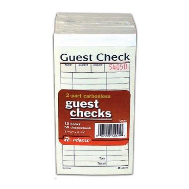 (Adams 2-Part Carbonless Guest Checks 10 Books/50 Checks Per Book)