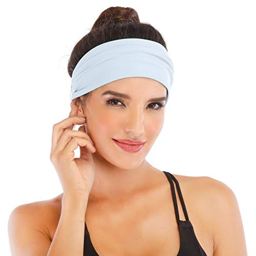 Heathyoga Non-Slip Headband for Women -Silicone Grippy Sweatband & Sports Headband for Workout, Running, Crossfit, Yoga Bike Helmet Friendly, Performance Stretch & Moisture Wicking (White) ()
