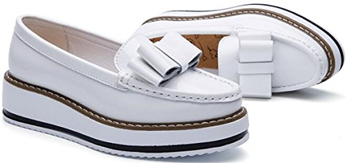 Ppxid Kvinna Läder Plattform Halka På Dagdrivare Flats Oxford Shoes Vita