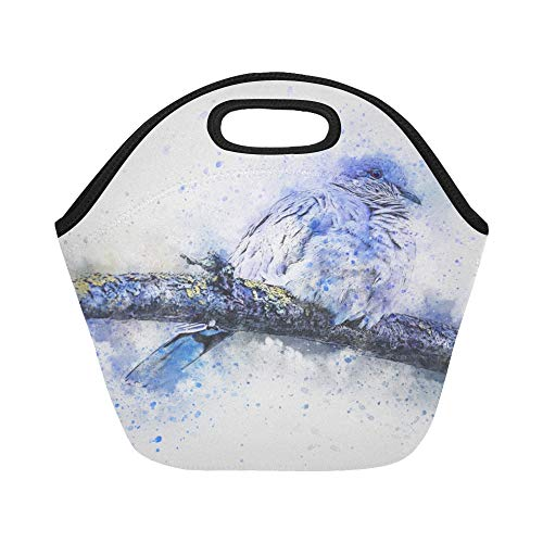 (Insulated Neoprene Lunch Bag Bird Turtledove Feathering Nature Animal Art Large Size Reusable Thermal Thick Lunch Tote Bags For Lunch Boxes For Outdoors,work, Office, School)