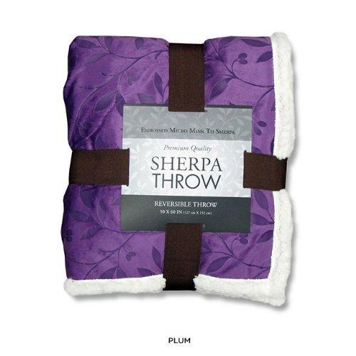 "Elegance Linen® Luxury Micro-Sherpa 50"" X 60"" Ultra Plush LEAF Design Solid Throw/Blanket, Plum"