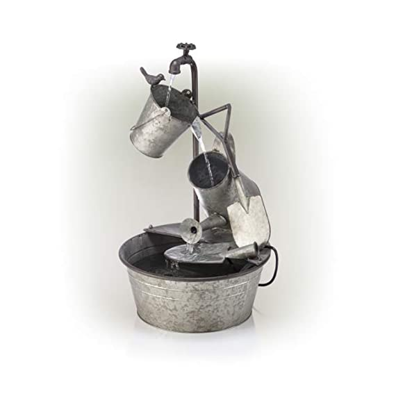 "Alpine Corporation 28"" Tall Outdoor 3-Tier Metal Garden Tools Water Fountain - GARDEN TOOL FOUNTAIN: Garden water fountain features various familiar tools and a bird figurine — the perfect addition to your outdoor décor. Interior pump keeps the water flowing — just plug it in! RELAXING WATER FLOW: Water trickles from the pump spout into the buckets and can, adding a peaceful ambiance to your outdoor setting RUSTIC LOOK: Realistic iron garden tools and pump head design for an old-fashioned farmhouse feel - patio, outdoor-decor, fountains - 41L2ZShSIzL. SS570  -"