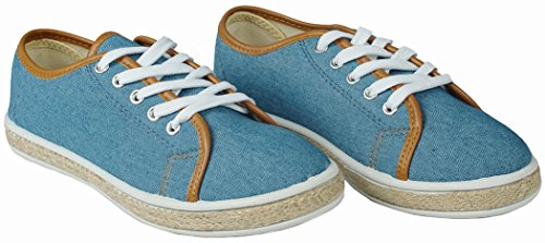 Zapatos Bludnm JJF redonda mujer Shoes PU cordones punta para plajos vaquero Para mujer q5Zawf57nr