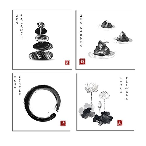 Live Art Decor Zen Wall Art Zen Wall Art for Bathroom,Zen Balance,Enso Circle,Lotus Flower and Stone Garden Traditional Chinese Ink Painting Picture Giclee Print on Canvas (12x12x4pcs) - Flower Chinese Art Lotus