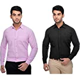 Khadi Vastra Men Solid Full Sleeve Cotton Formal Spread Shirt - Pack of 2