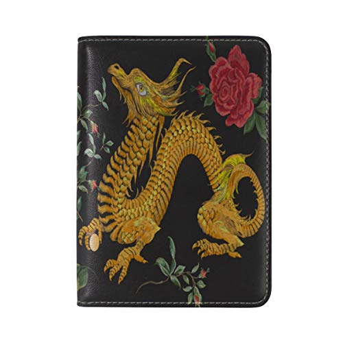Passport Cover Case Vintage Chinese Golden Dragon Auspicious Chinese Style Leather&microfiber Multi Purpose Print Passport Holder Travel Wallet For Women And Men 5.51x3.94 In