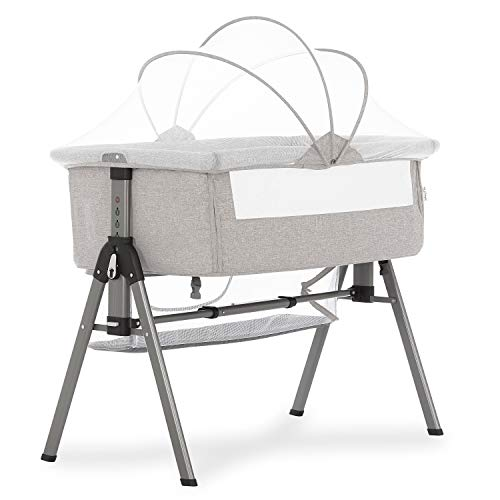 Dream On Me Lotus Bassinet & Bedside Sleeper in Grey