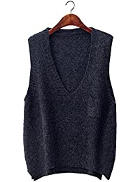 Women's Boxy Solid Color Low V Neck Marled Knitted Sweater Vest Tops
