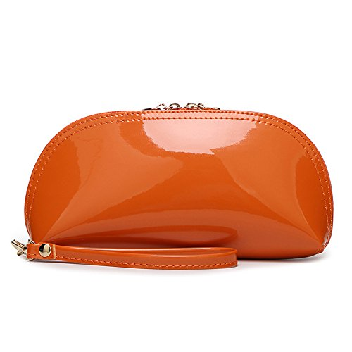 FavoMode - Cartera de mano con asa de Charol para mujer Orange Bling