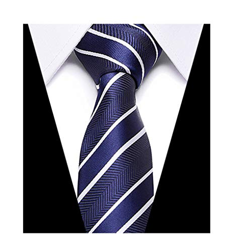(Men Boy Navy White Stripe Tie Herringbone Neckties Gift for Brother Son Grandson)