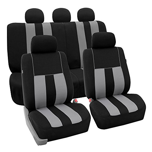 Mitsubishi Car Cover Seat Covers - FH Group Light & Breezy Gray/Black Cloth Seat Cover Set Airbag & Split Ready- Fit Most Car, Truck, SUV, or Van