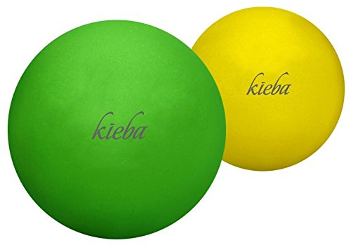 Kieba Massage Lacrosse Balls for Myofascial Release, Trigger Point Therapy, Muscle Knots, and Yoga Therapy. Set of 2 Firm Balls (Green and Yellow)