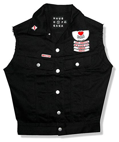 Lady Gaga - The Monster Ball Tour Ate My Heart Black Denim Vest New Ladies (Medium)