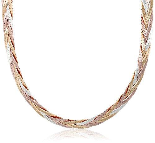 Sterling Silver Italian Tri-Color Five-Strand Braided Herringbone Chain Necklace, 18