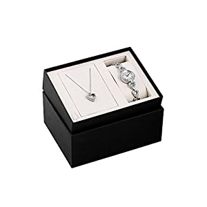Bulova Women's Swarvoski Crystal Box Set with Heart Pendant Necklace
