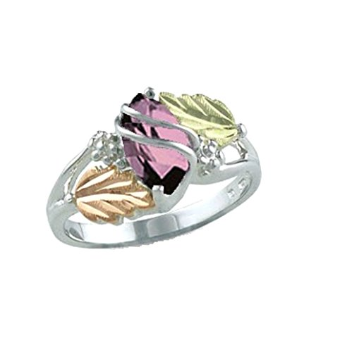 Marquise Pink Cubic Zirconia Ring, Sterling Silver, 12k Green and Rose Gold Black Hills Gold Motif, Size 2.75 by Black Hills Gold Jewelry