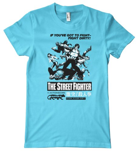 B-Movie Series-Street Fighter Premium T-Shirt, Aqua, Large
