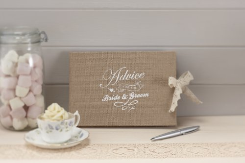 (Ginger Ray AF-643 Vintage Affair Bride & Groom Advice Wedding Guest Book, Brown, W 24 cm x H 17 cm,)