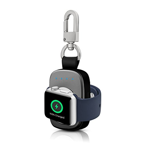FLAGPOWER Portable Wireless Apple Watch Magnetic Charger, [Apple MFI Certified] Pocket Sized Keychain for Travel, Built in Power Bank for iWatch, Compatible with Apple Watch Series 3/2/1/Nike+ by FLAGPOWER (Image #1)