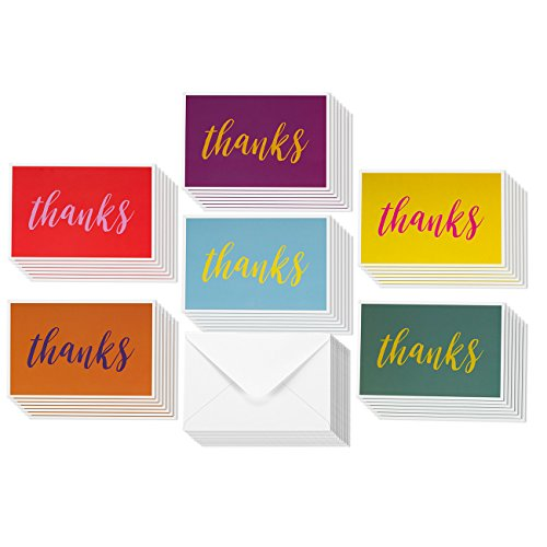 """48 Pack Thank You """"Thanks"""" Greeting Cards 6 Bright and Colorful Designs (Red, Purple and more!) Bulk Box Set Envelopes Included (4 x 6 inches)"""