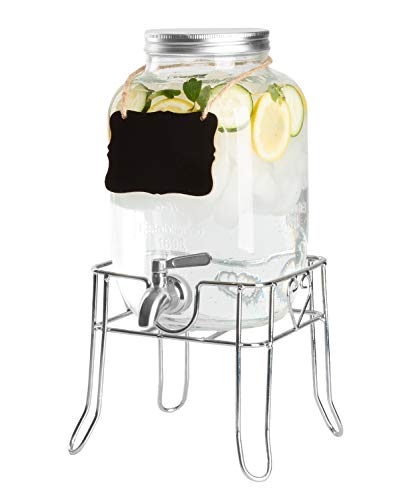 Glass Beverage Dispenser With Stand - Outdoor Glass Beverage Dispenser with Sturdy Metal Base, Stainless Steel Spigot & Hanging Chalkboard - Drink Dispenser for Lemonade, Tea, Cold Water & More