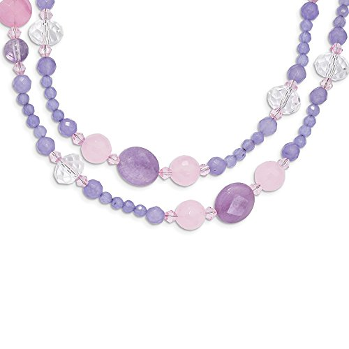 (925 Sterling Silver Purple Amethyst Jade Crystal Chain Necklace Pendant Charm Natural Stone Fine Jewelry Gifts For Women For Her)