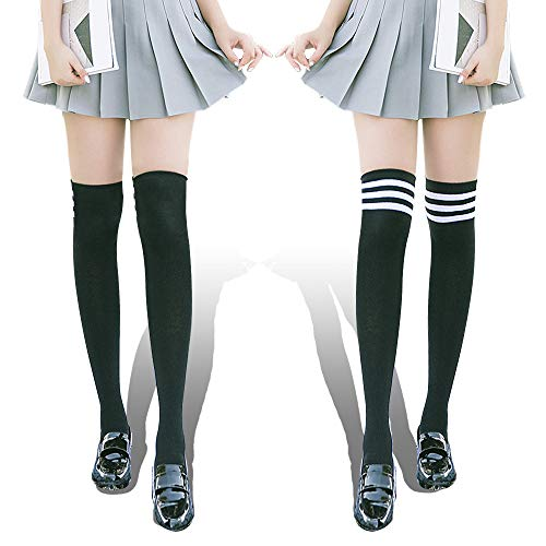 ANJAYLIA 2 Pairs Womens Thigh High Socks, Over the Knee High Stockings Leg Warmers Cosplay Socks