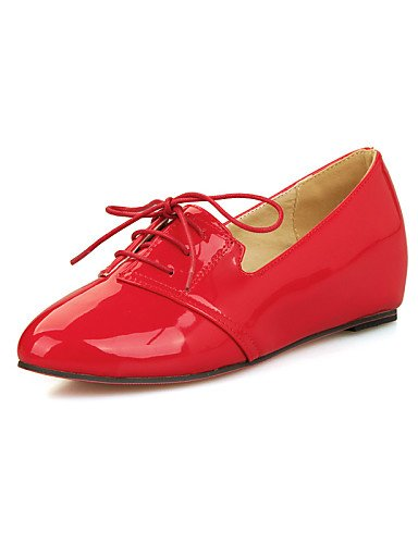 ZQ Zapatos de mujer - Tacón Cuña - Punta Redonda - Oxfords - Vestido / Casual - Cuero Patentado - Negro / Rojo / Beige , red-us10.5 / eu42 / uk8.5 / cn43 , red-us10.5 / eu42 / uk8.5 / cn43 black-us8.5 / eu39 / uk6.5 / cn40