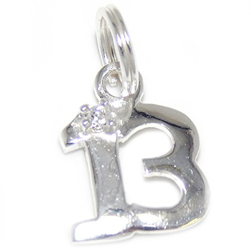 Pro Jewelry 925 Solid Sterling Silver Dangling Number 13 with Clear Crystal Charm Bead - Number 13 Pandora Charm