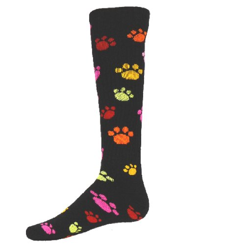 Red Lion Wild Animals Multi-color Paws Patterned Acrylic Athletic Socks ( Black - Small )
